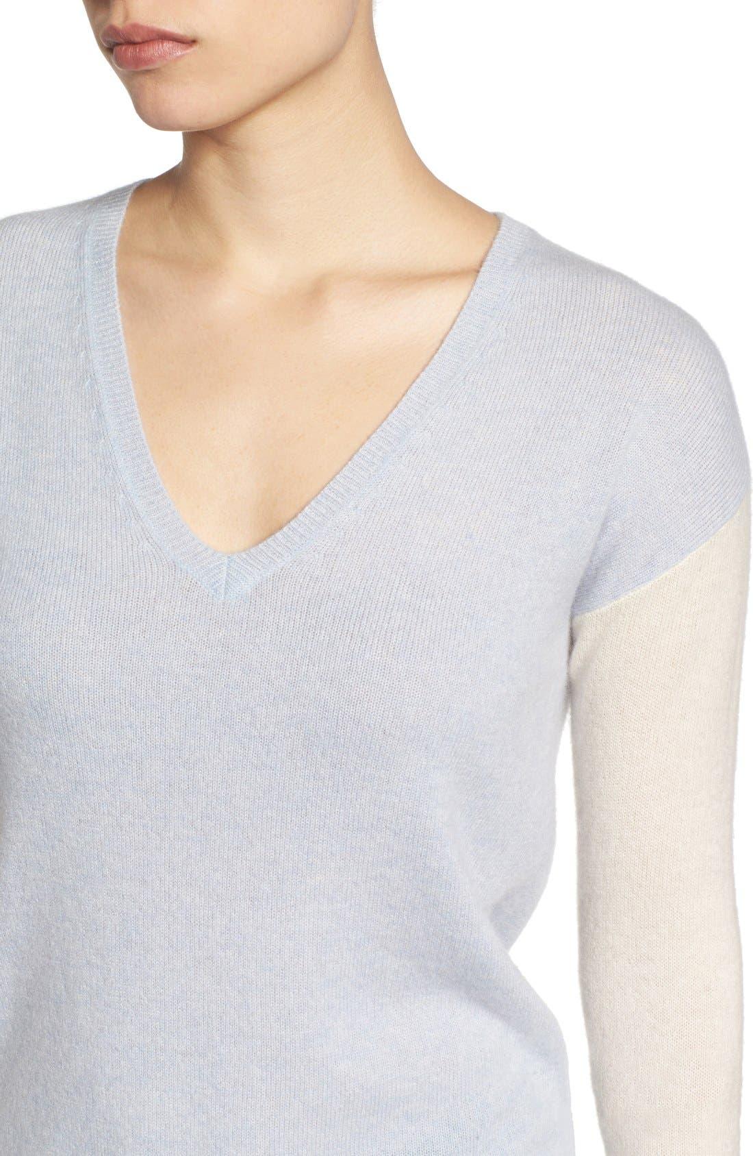 Alternate Image 4  - Halogen® Cashmere V-Neck Sweater (Regular & Petite)