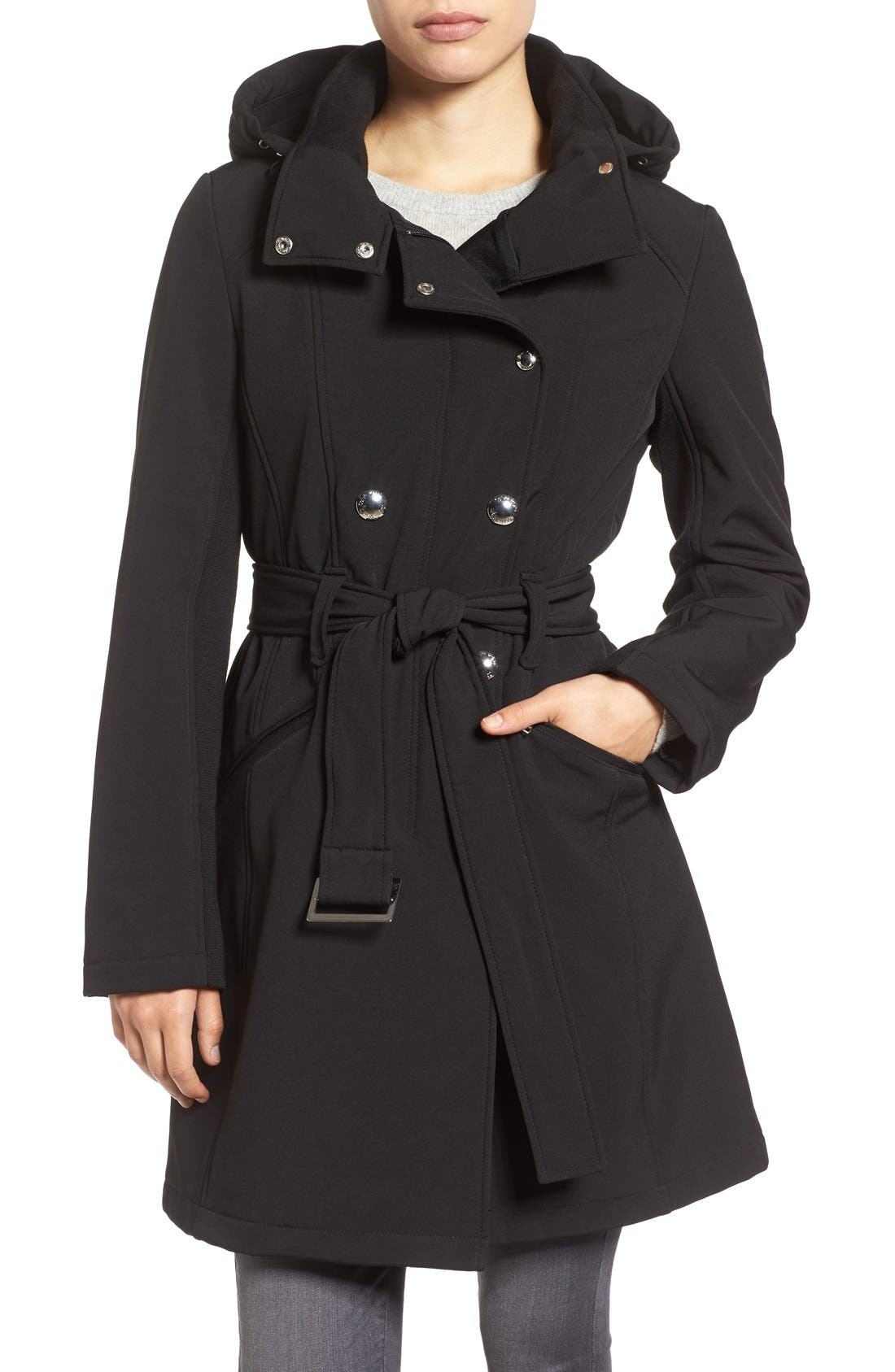Alternate Image 1 Selected - Calvin Klein Double Breasted Soft Shell Trench Coat