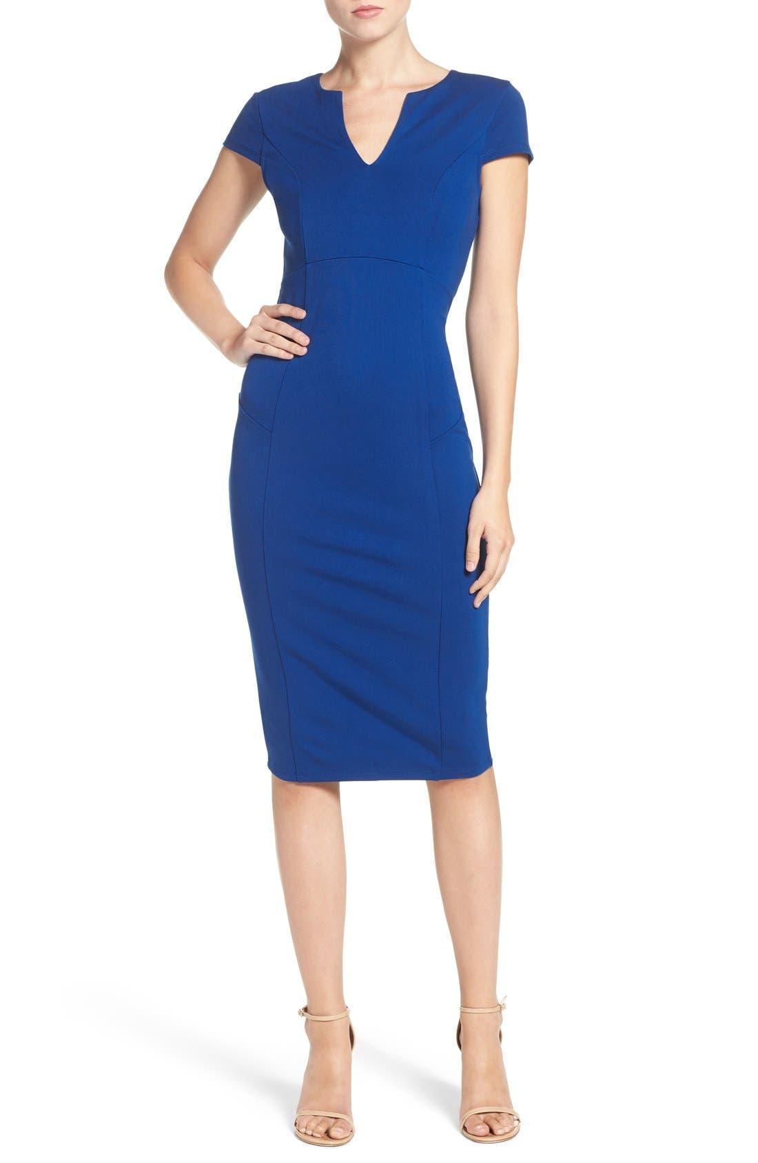 Main Image - Felicity & Coco V-Neck Ponte Knit Midi Sheath Dress (Regular & Petite) (Nordstrom Exclusive)