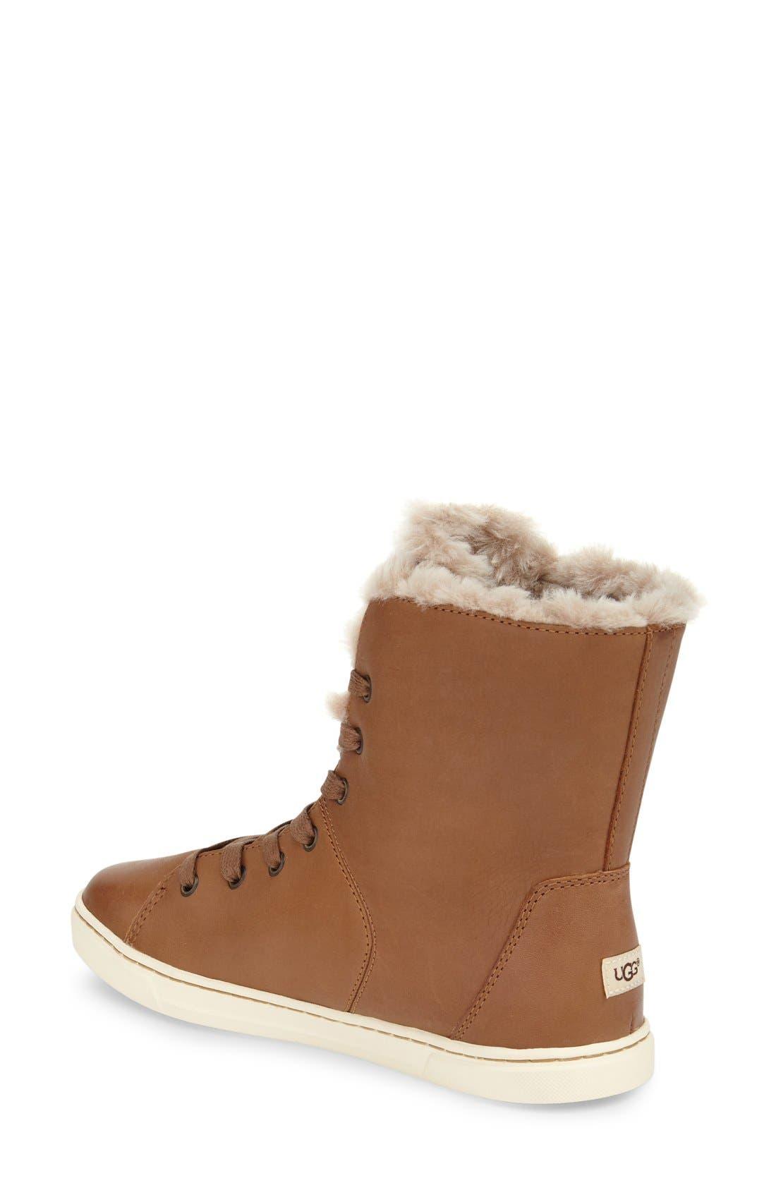 Alternate Image 2  - UGG® 'Croft Luxe' Genuine Shearling High Top Sneaker (Women)