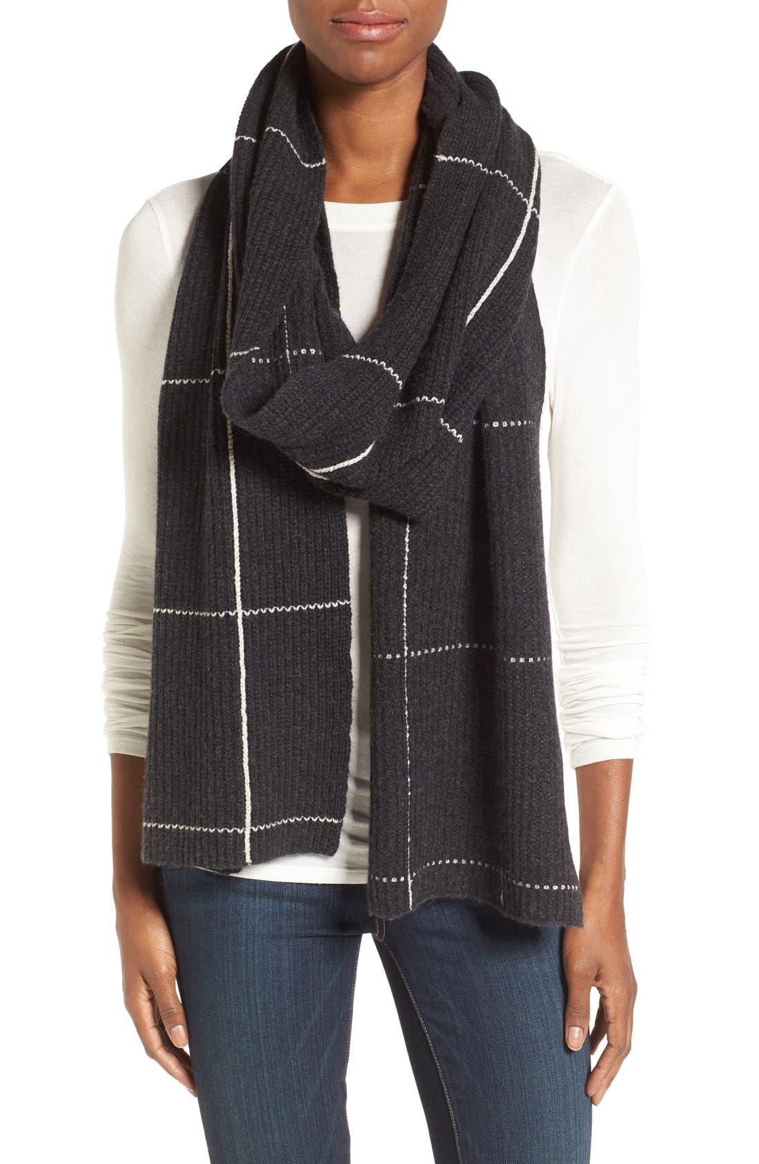 Main Image - Halogen® Windowpane Wool & Cashmere Scarf