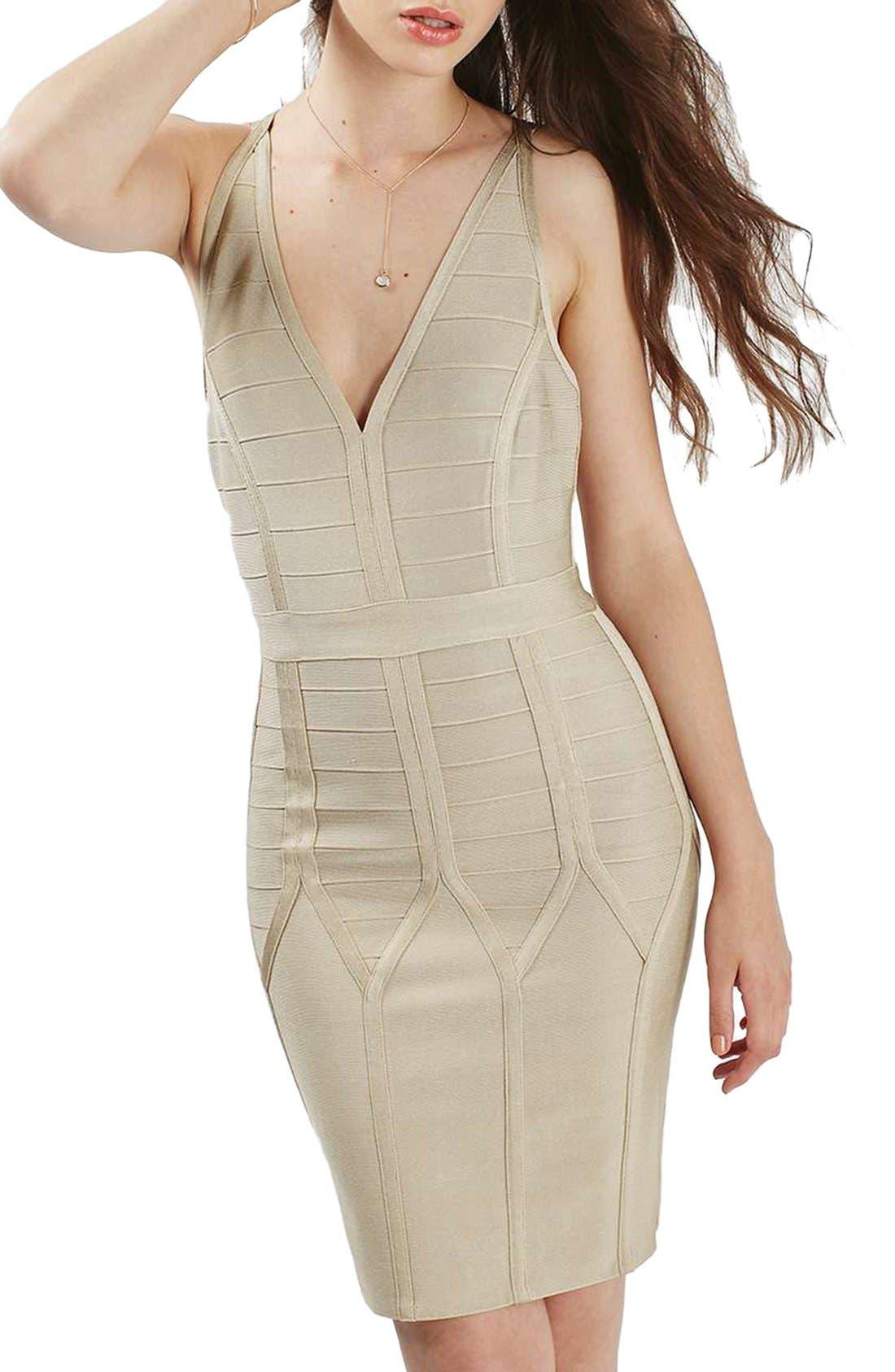 Main Image - Topshop Strappy Bandage Body-Con Dress