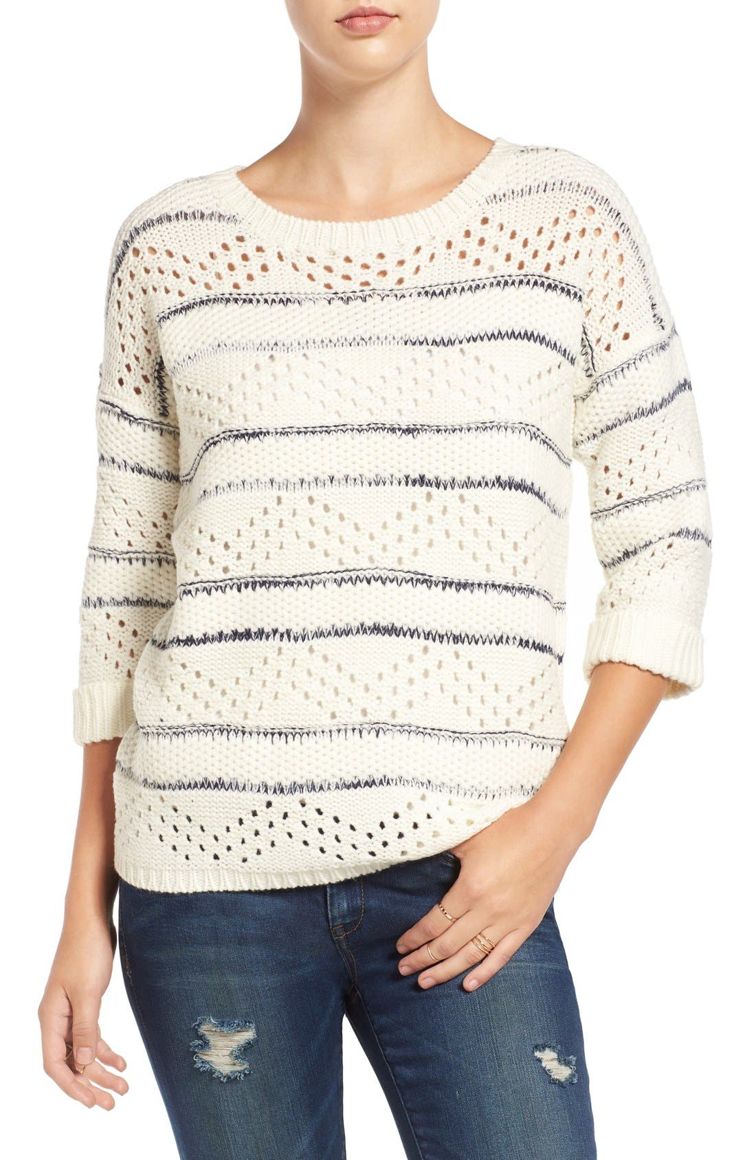 Alternate Image 1 Selected - Elodie Stripe Pointelle Knit Sweater