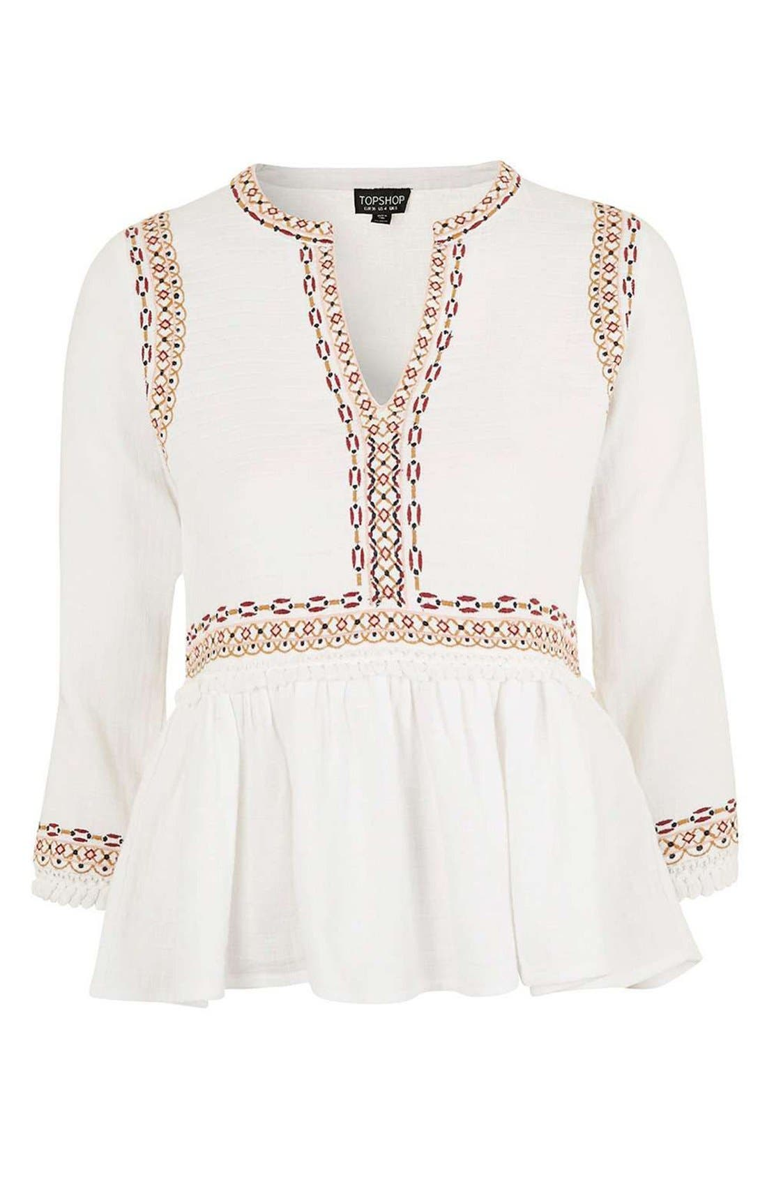 Alternate Image 4  - Topshop Embroidered Peplum Peasant Blouse