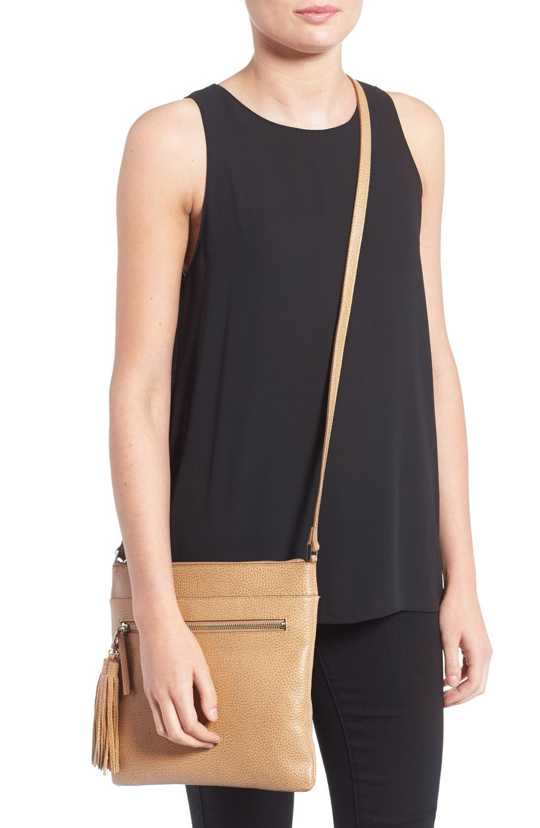 Alternate Image 2  - Halogen® Tasseled Leather Crossbody Bag
