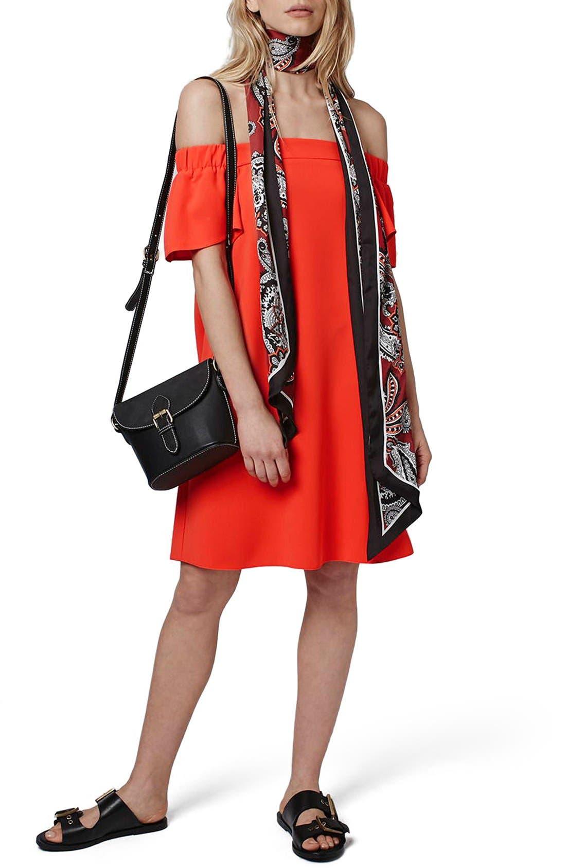 Main Image - Topshop Off the Shoulder Trapeze Dress (Regular & Petite)