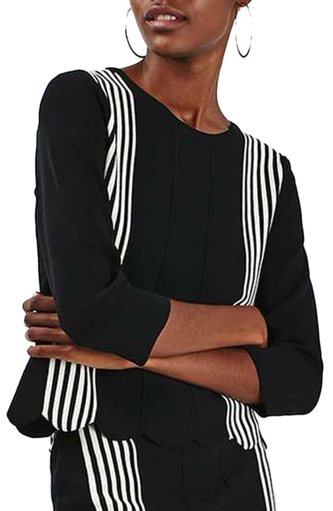 Alternate Image 1 Selected - Topshop Stripe Detail Scalloped Knit Top