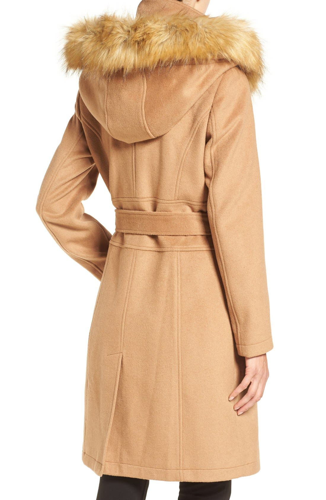 Alternate Image 2  - Ivanka Trump Wool Blend Coat with Removable Faux Fur Trim Hood