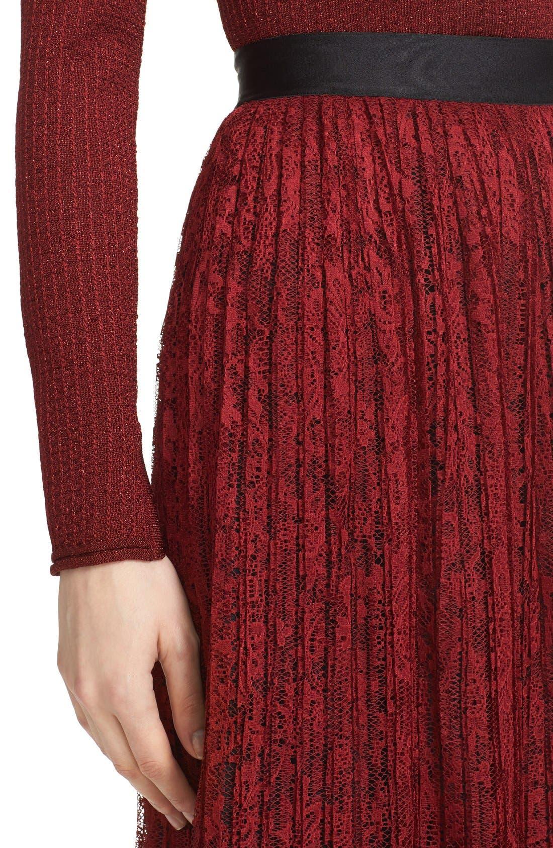 Alternate Image 5  - Alice + Olivia 'Mikaela' Pleat Lace Midi Skirt