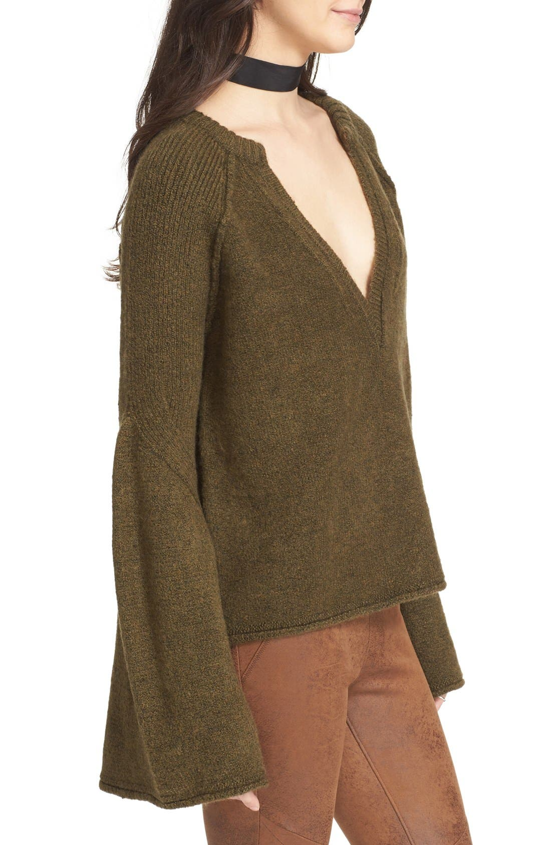 Alternate Image 4  - Free People Lovely Lines Bell Sleeve Sweater