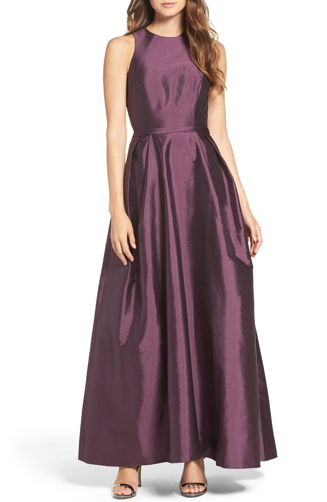 MONIQUE LHUILLIER BRIDESMAIDS Cross Back Taffeta Gown