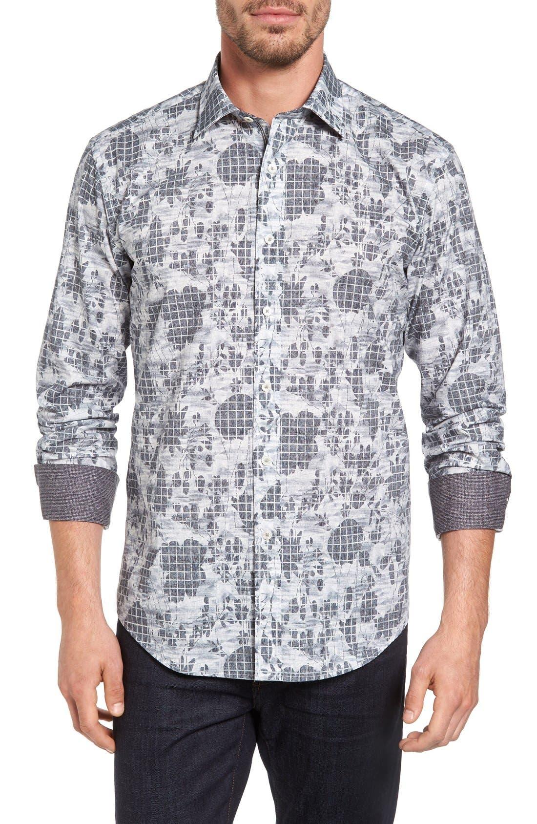 Bugatchi Shaped Fit Graphic Sport Shirt