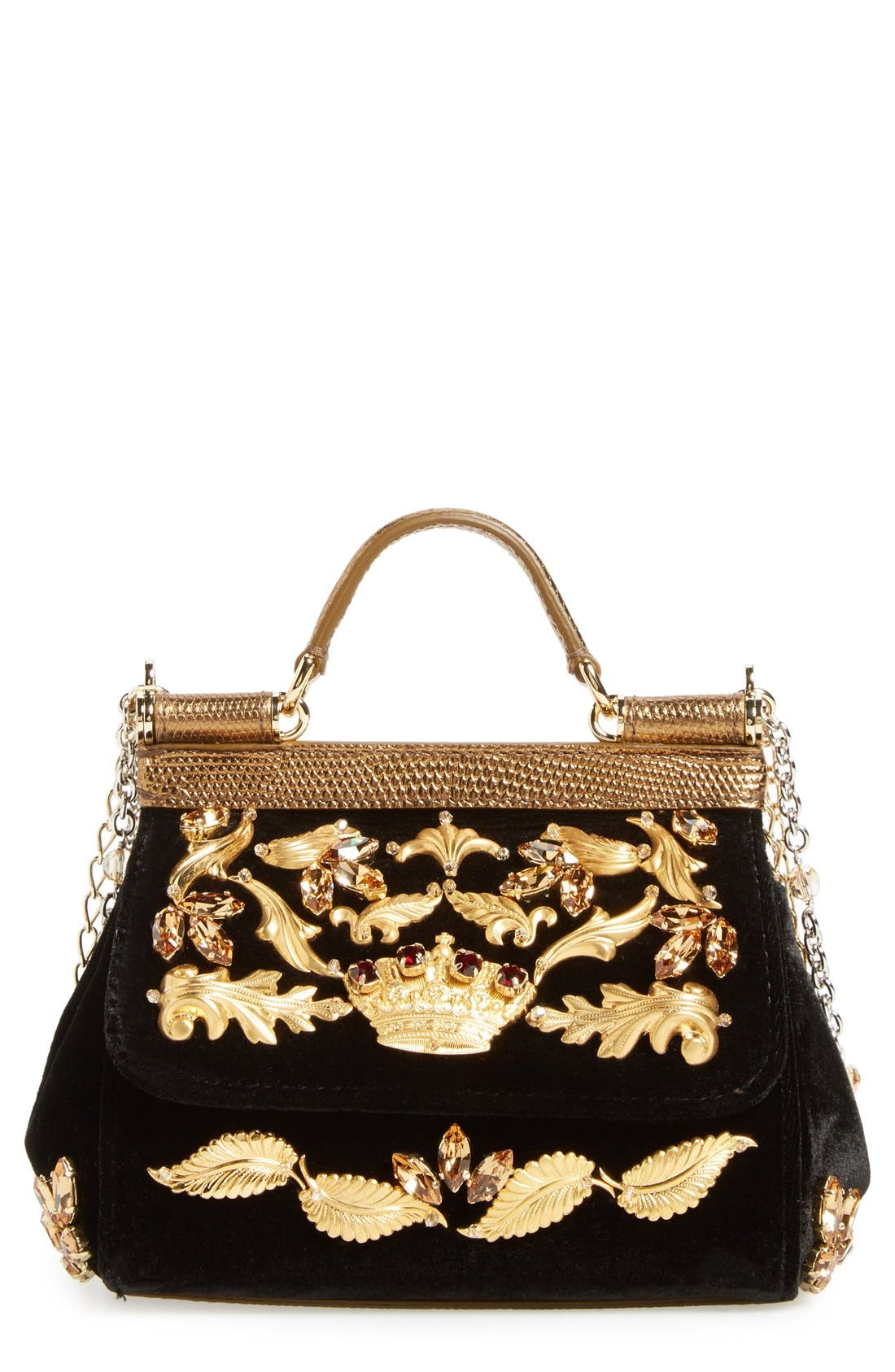 Alternate Image 1 Selected - Dolce&Gabbana 'Mini Sicily' Velvet Shoulder Bag