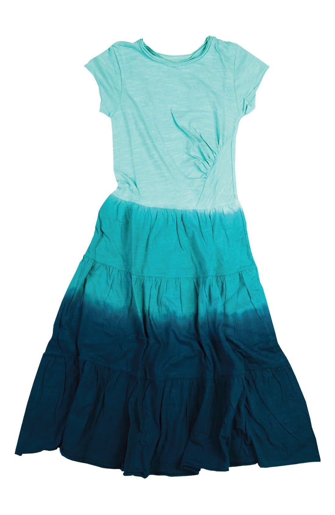 Blue three rose corsage jersey dress