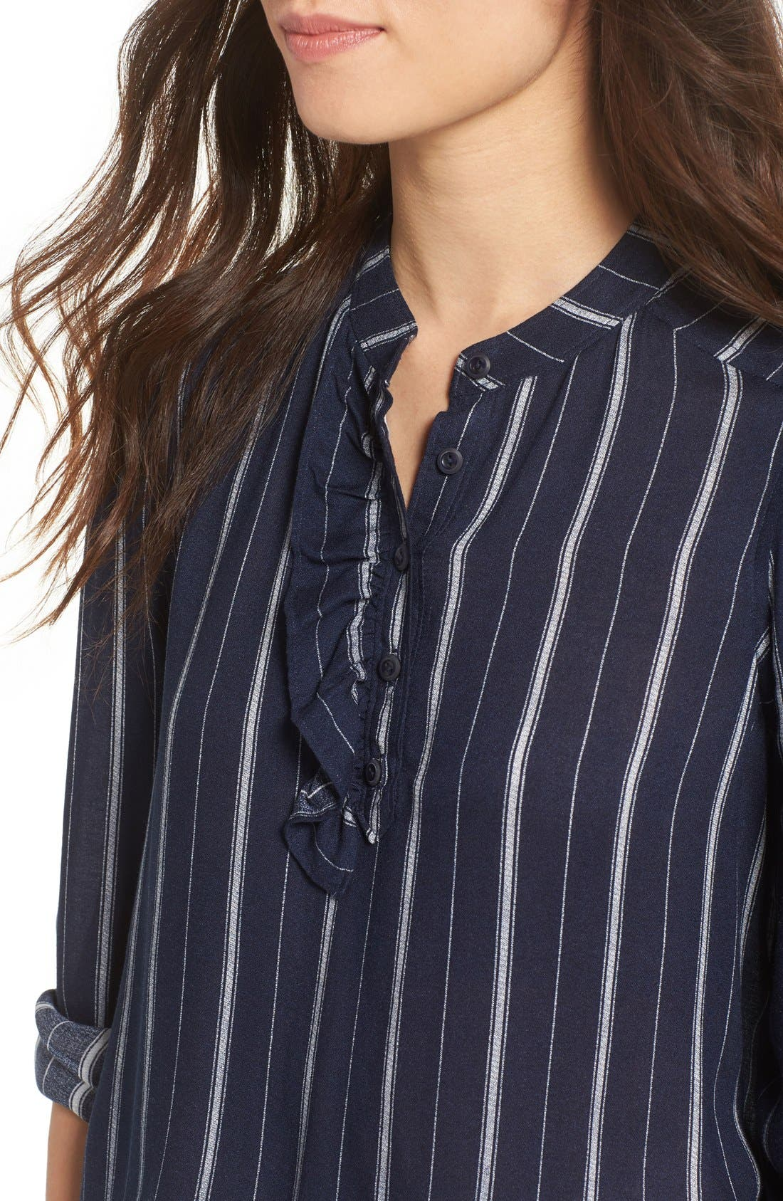 Alternate Image 4  - BP. Stripe Ruffle Popover Shirt