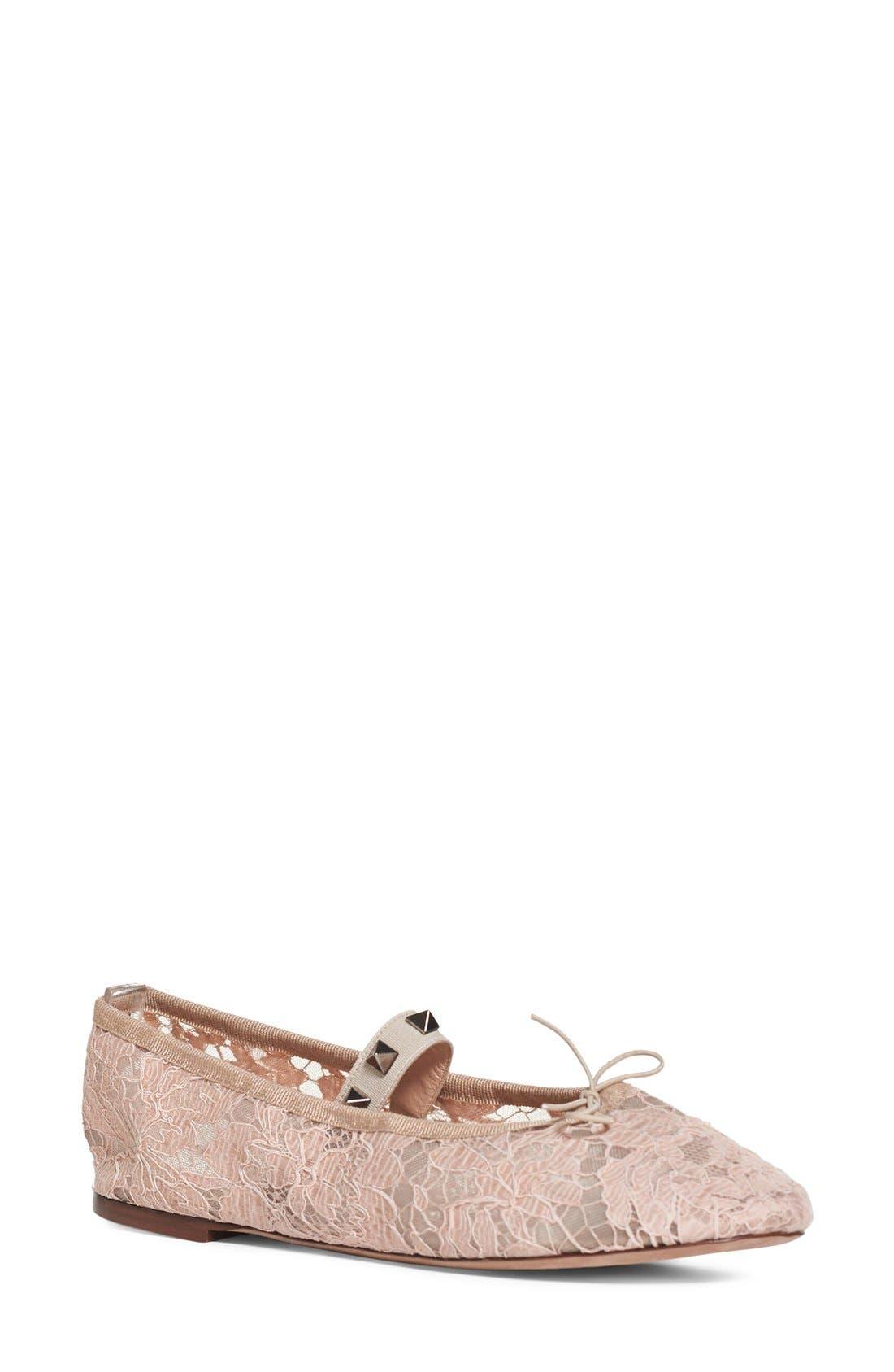 Main Image - Valentino 'Rockstud' Lace Ballet Flat (Women)