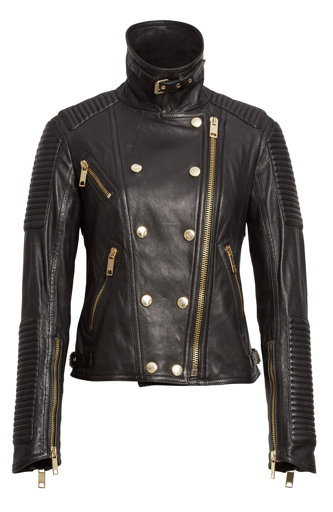 Alternate Image 4  - Burberry Brit 'Colefield' Double Breasted Leather Jacket
