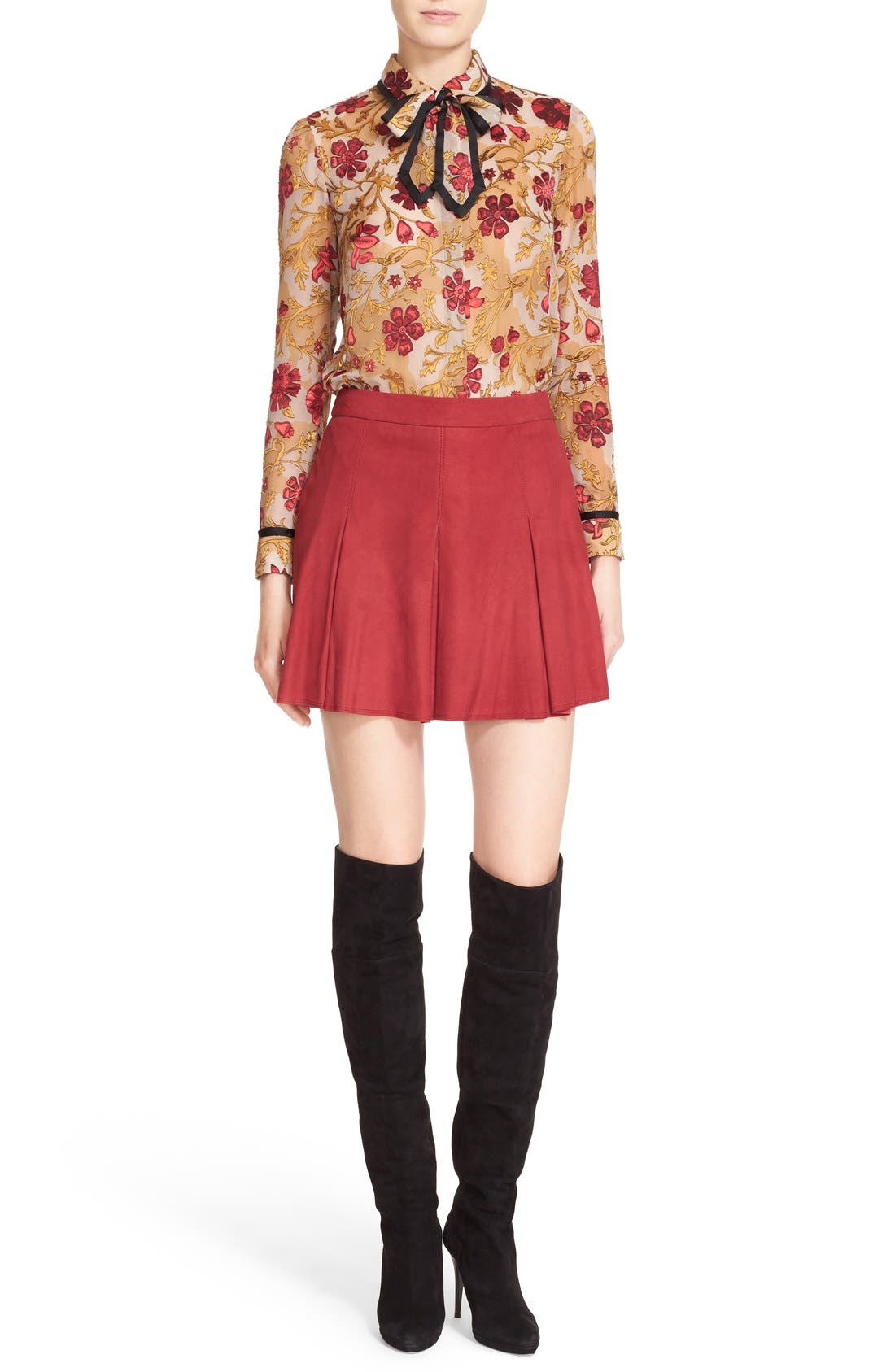 Alternate Image 1 Selected - Alice + Olivia 'Cora' Print Contrast Trim Tie Neck Blouse