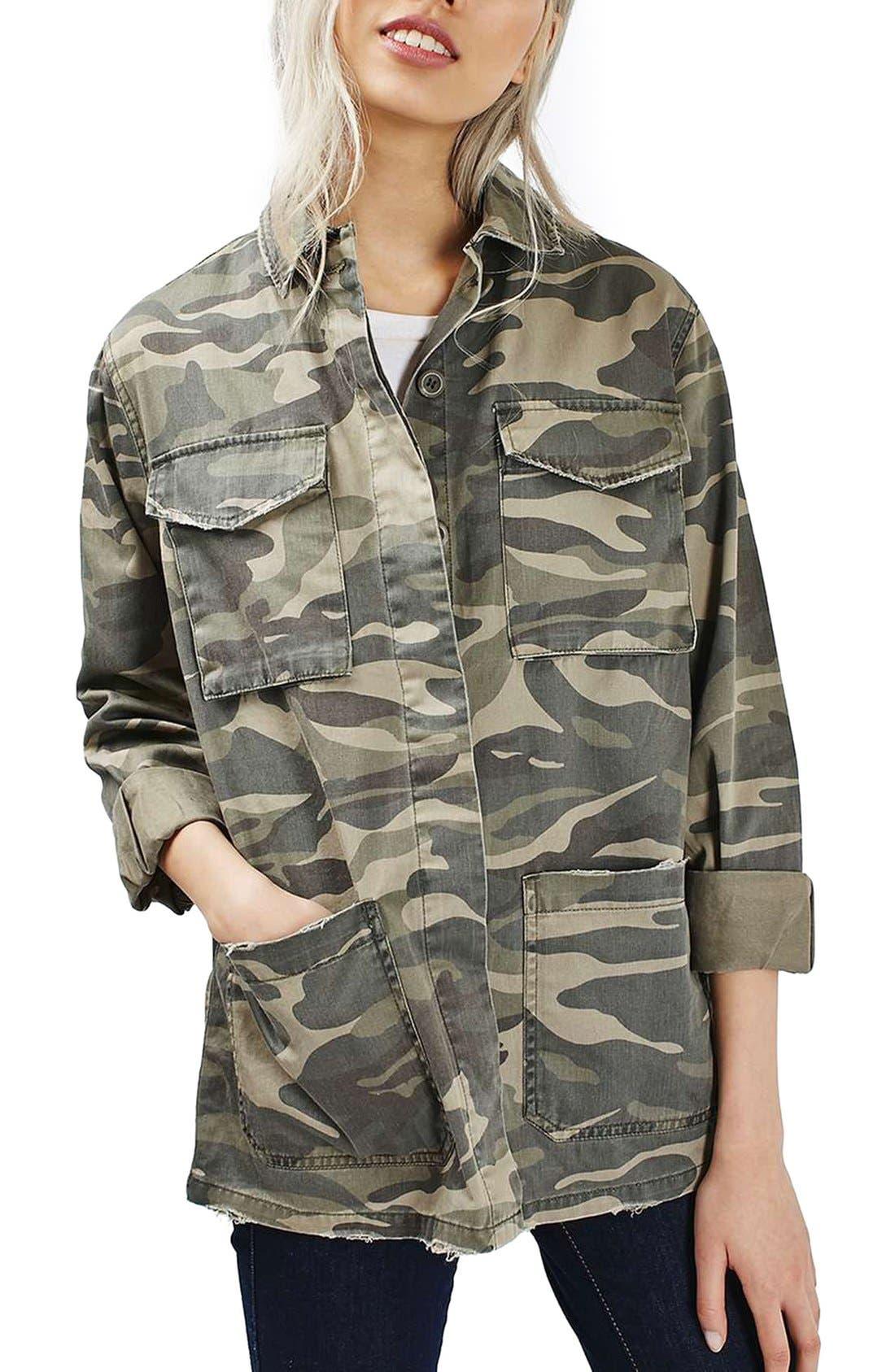 Main Image - Topshop 'Sarge' Camo Shirt Jacket