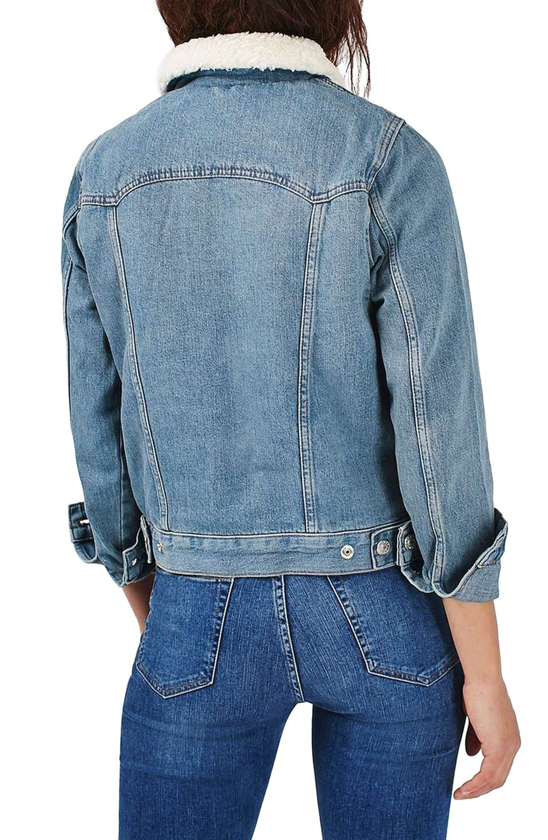 Alternate Image 3  - Topshop Denim Jacket with Faux Shearling Lining