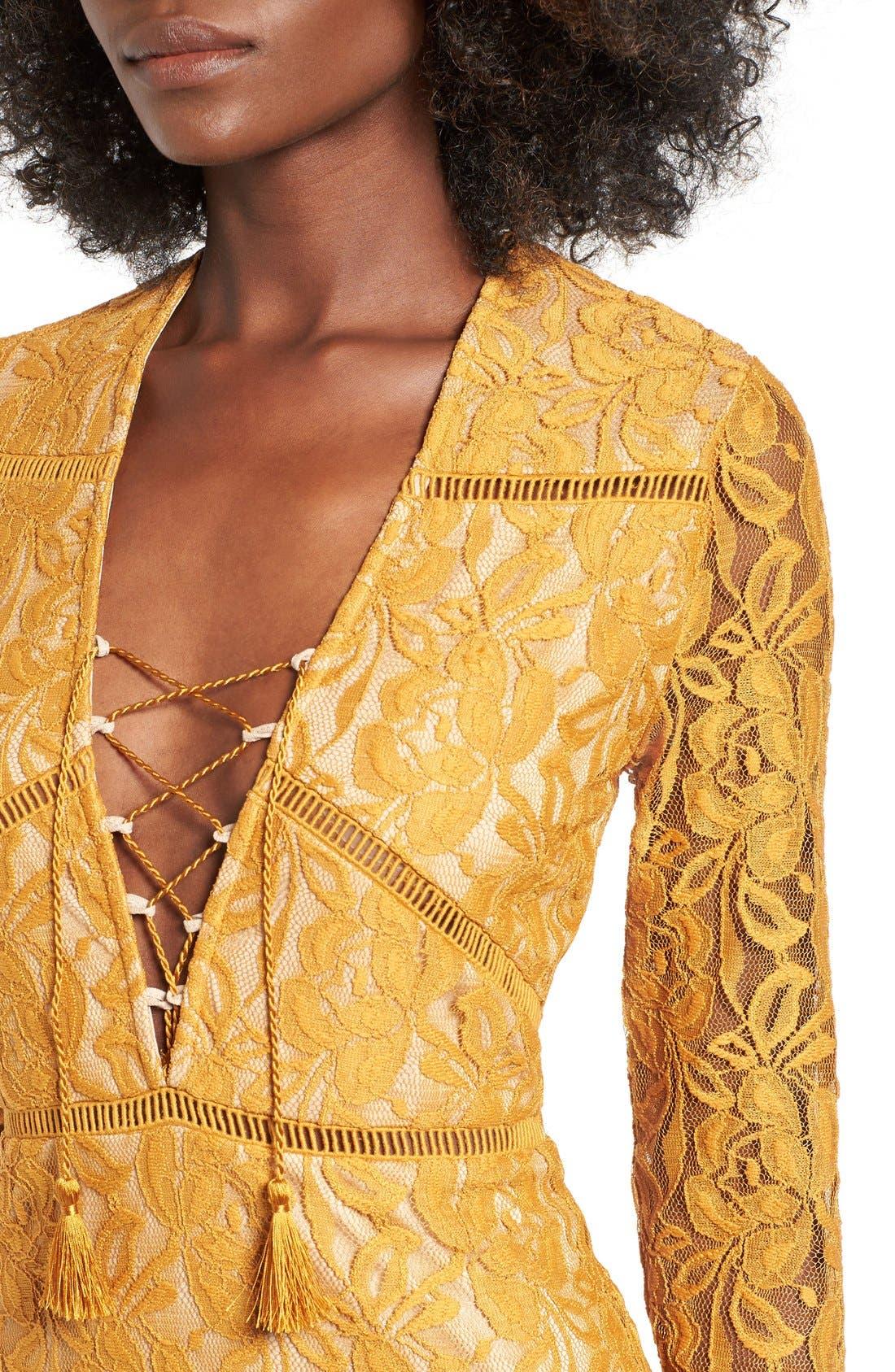 Alternate Image 4  - Love, Fire Lace-Up Body-Con Dress