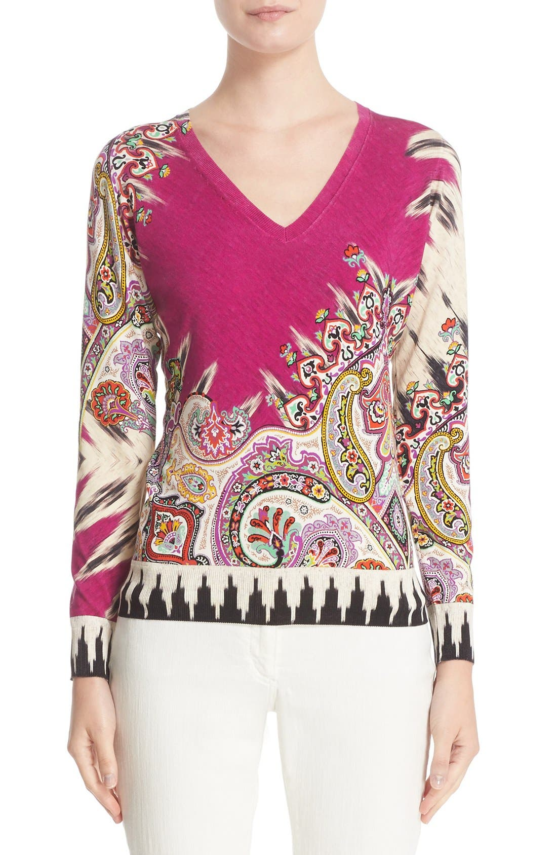 ETRO Ikat & Paisley Stretch Silk Sweater