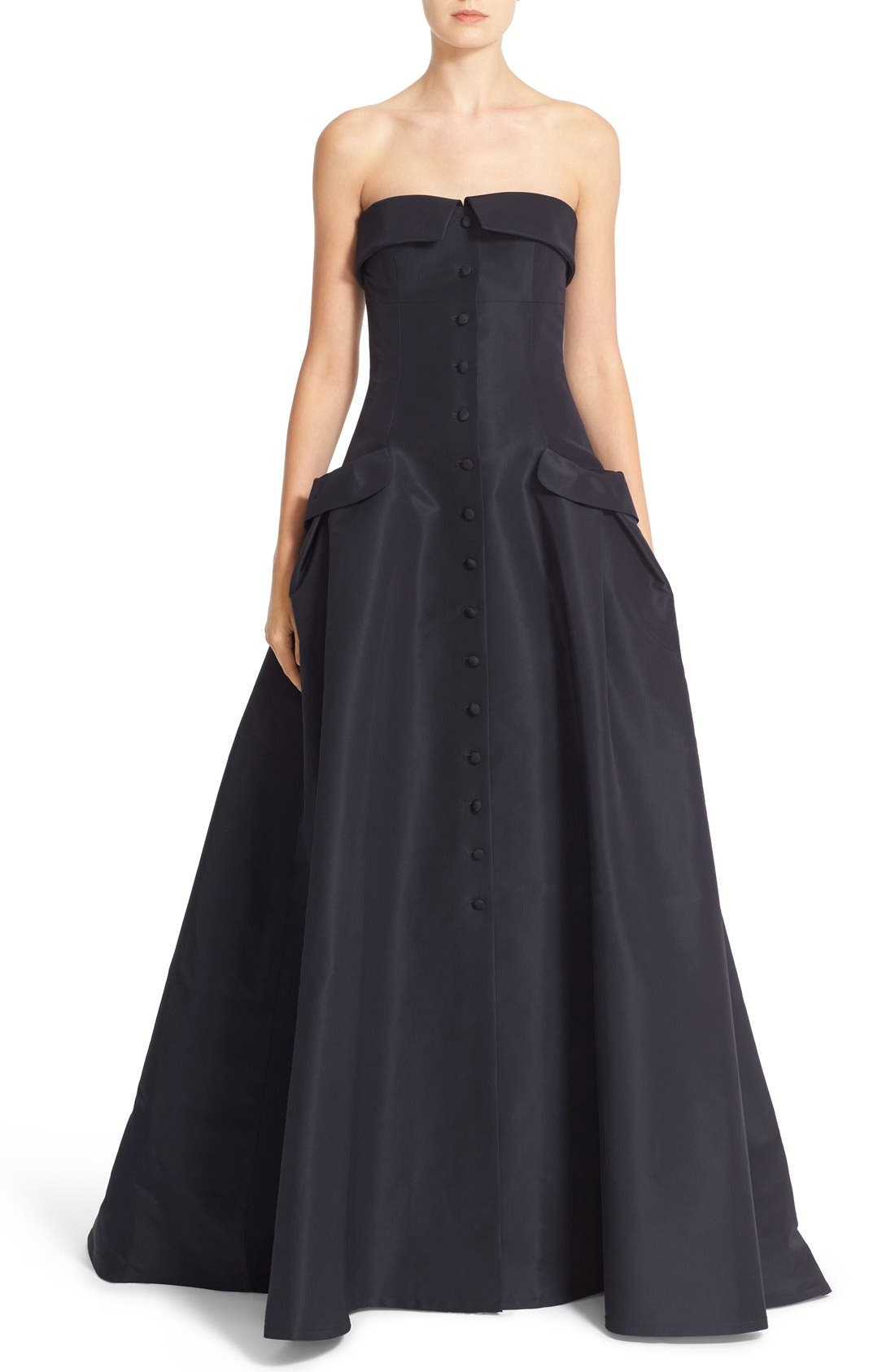 CAROLINA HERRERA Pocket Detail Strapless Silk Faille Gown