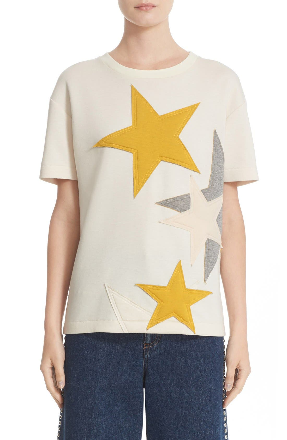 Main Image - Stella McCartney Star Appliqué Jersey Tee
