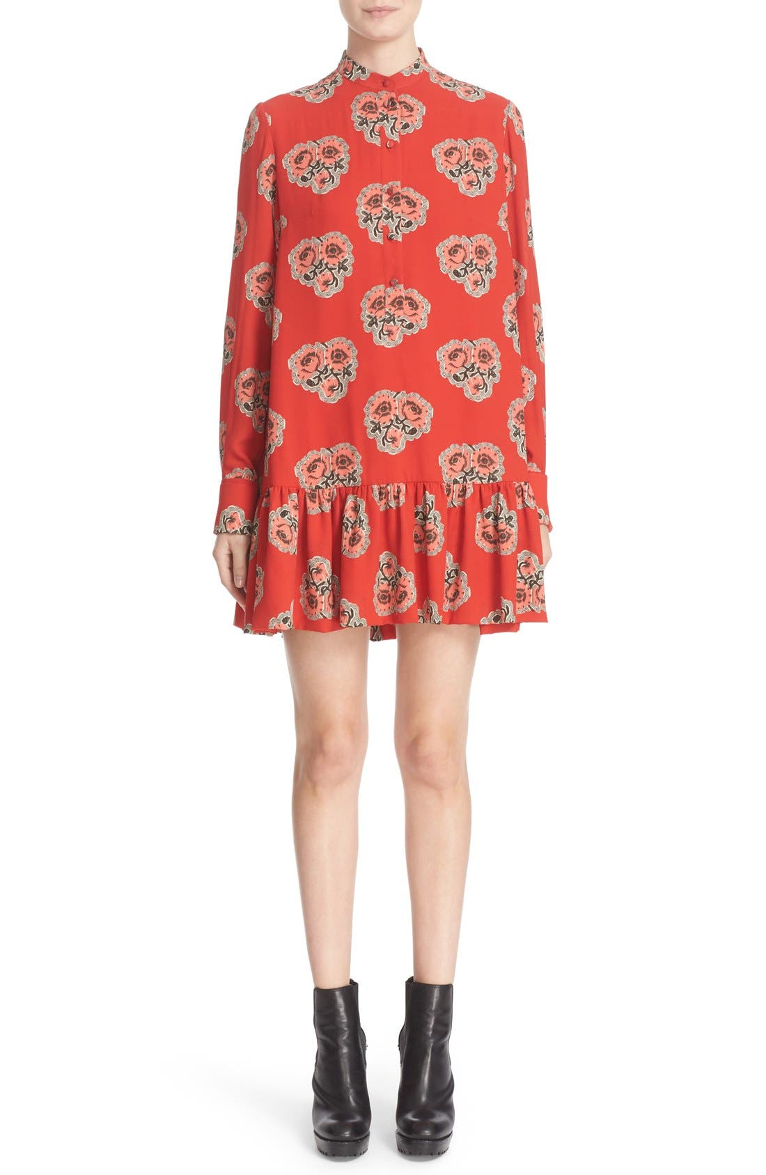 ALEXANDER MCQUEEN Poppy Print Ruffle Hem Georgette Dress