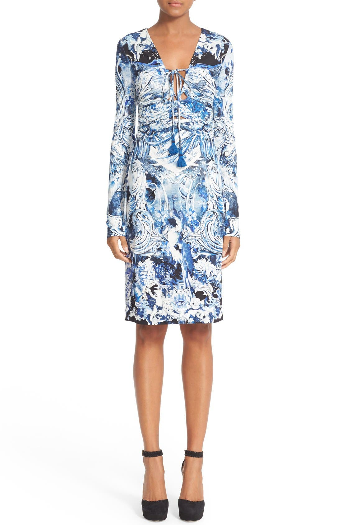 ROBERTO CAVALLI Lace-Up Print Jersey Dress