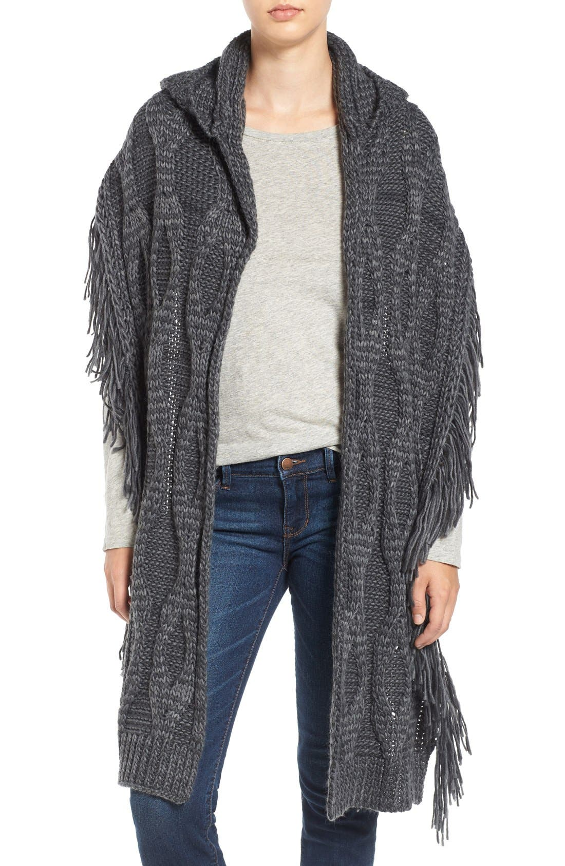 Alternate Image 1 Selected - Free People Hooded Cable Knit Wrap