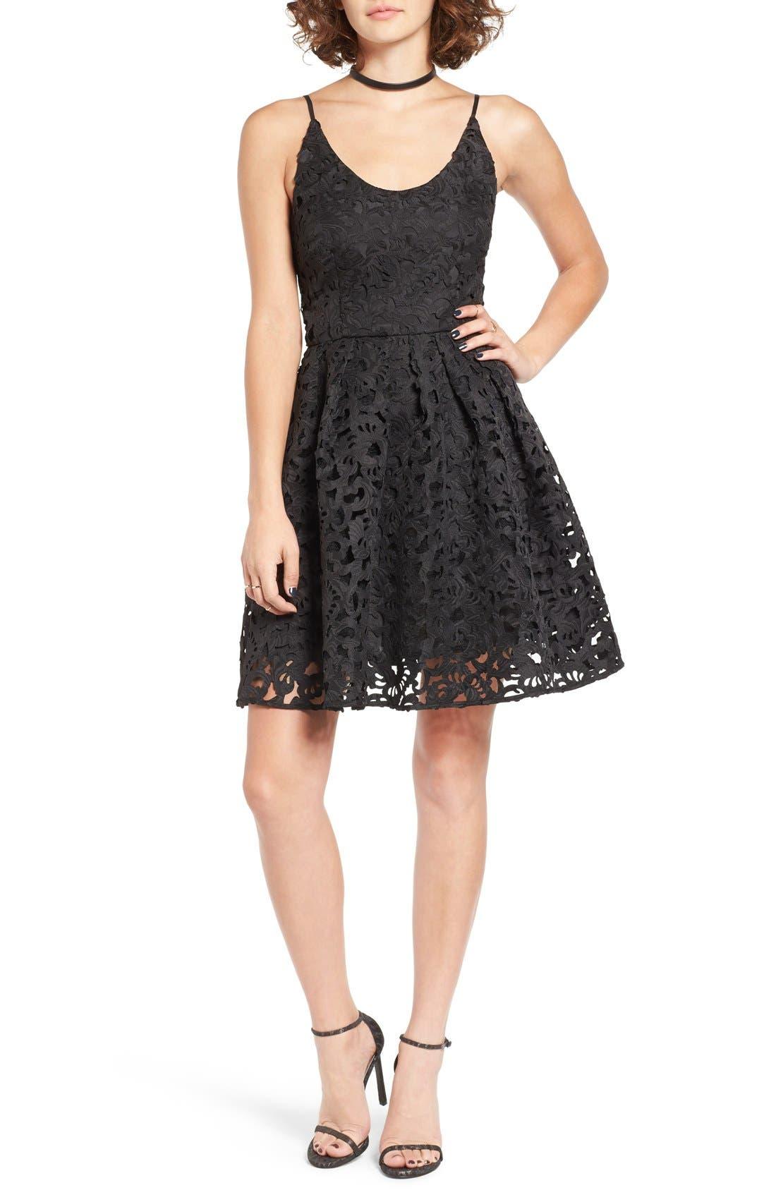 Main Image - a. drea Laser Cut Lace Skater Dress