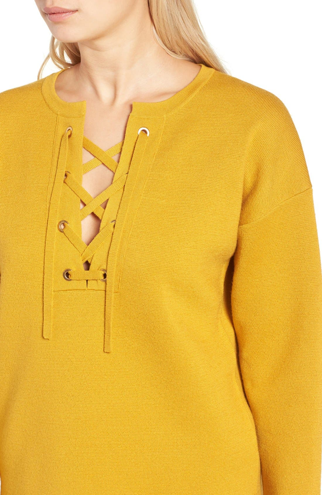 Alternate Image 4  - J.Crew Collection Bonded Lace-Up Sweater