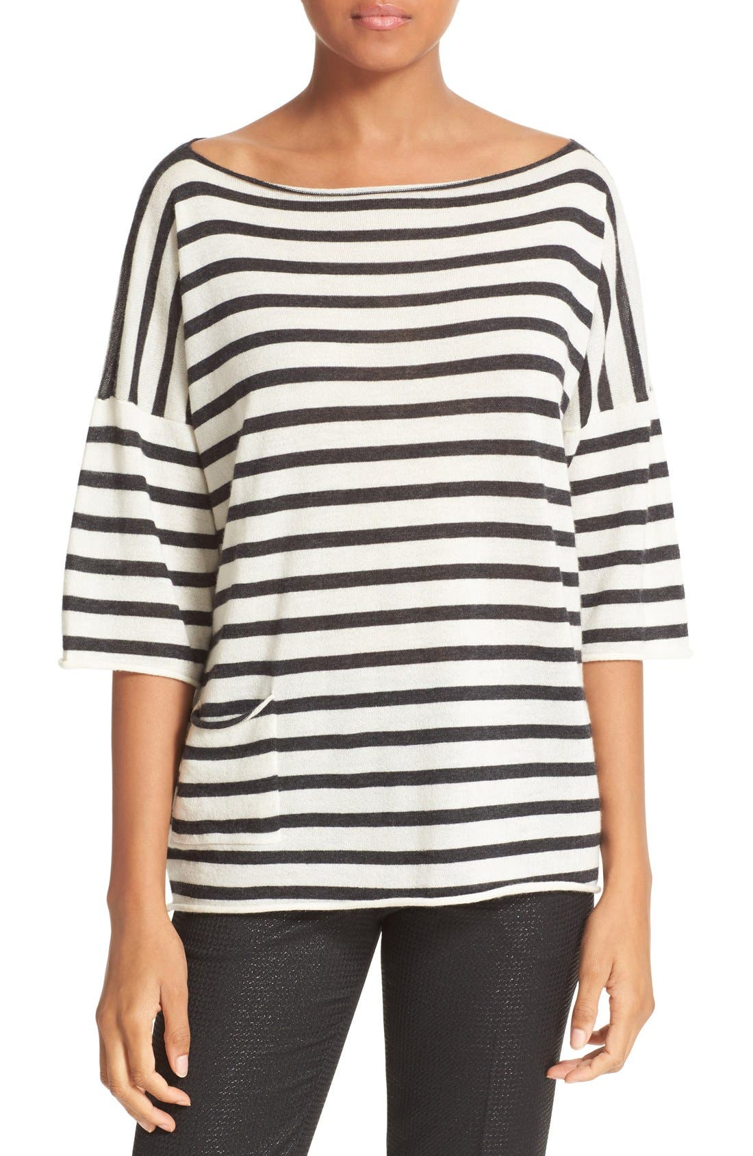 ATM ANTHONY THOMAS MELILLO Stripe Oversize Cashmere Sweater