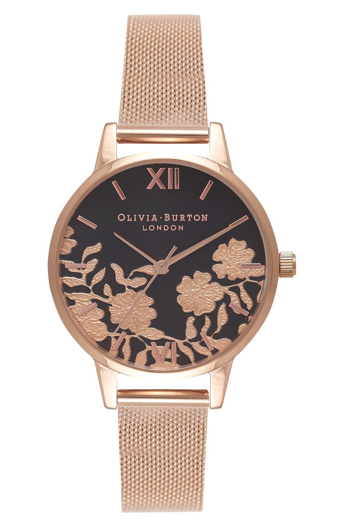Main Image - Olivia Burton Lace Detail Mesh Bracelet Watch, 30mm