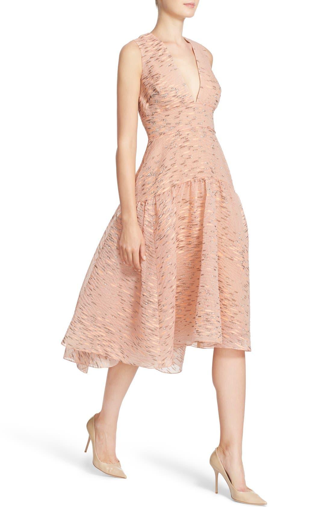 Alternate Image 6  - Lela Rose Minnow Metallic Fil Coupé Dress