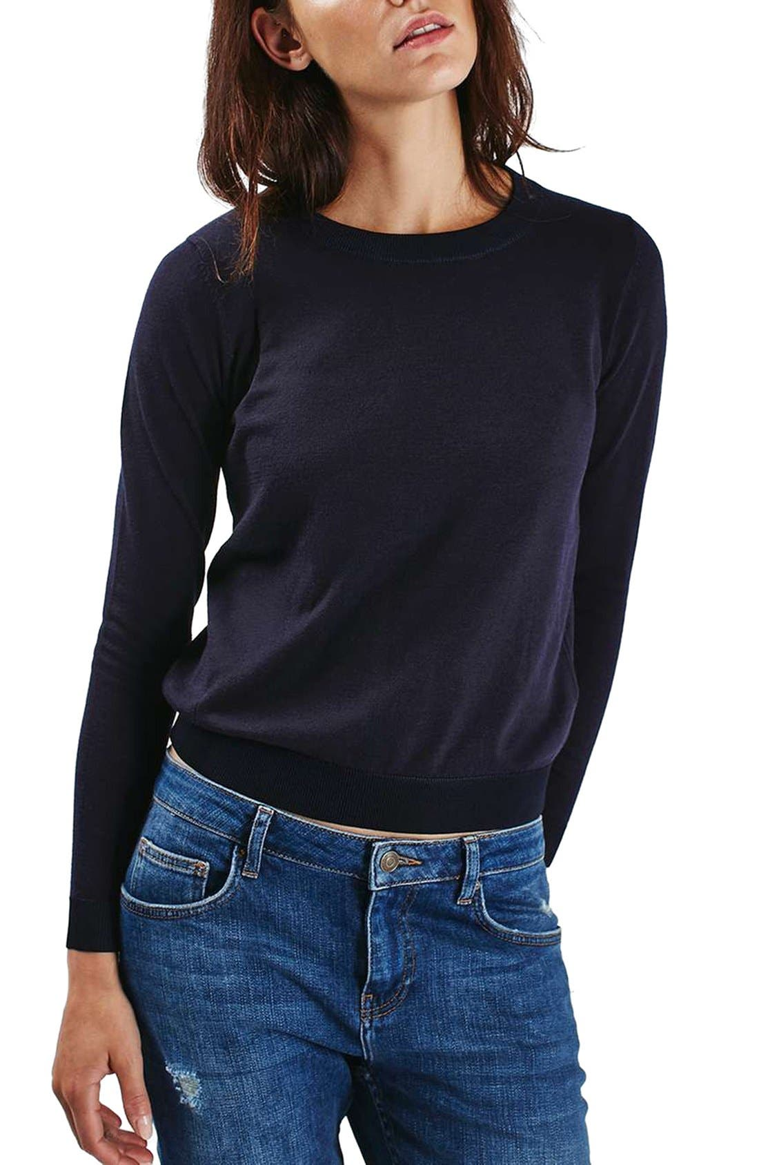 Alternate Image 1 Selected - Topshop Ribbed Trim Sweater