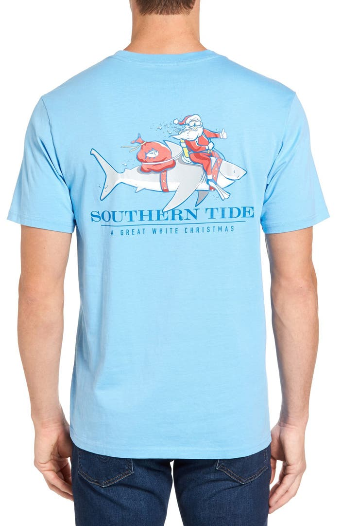 Southern tide great white christmas graphic t shirt for Good white t shirts