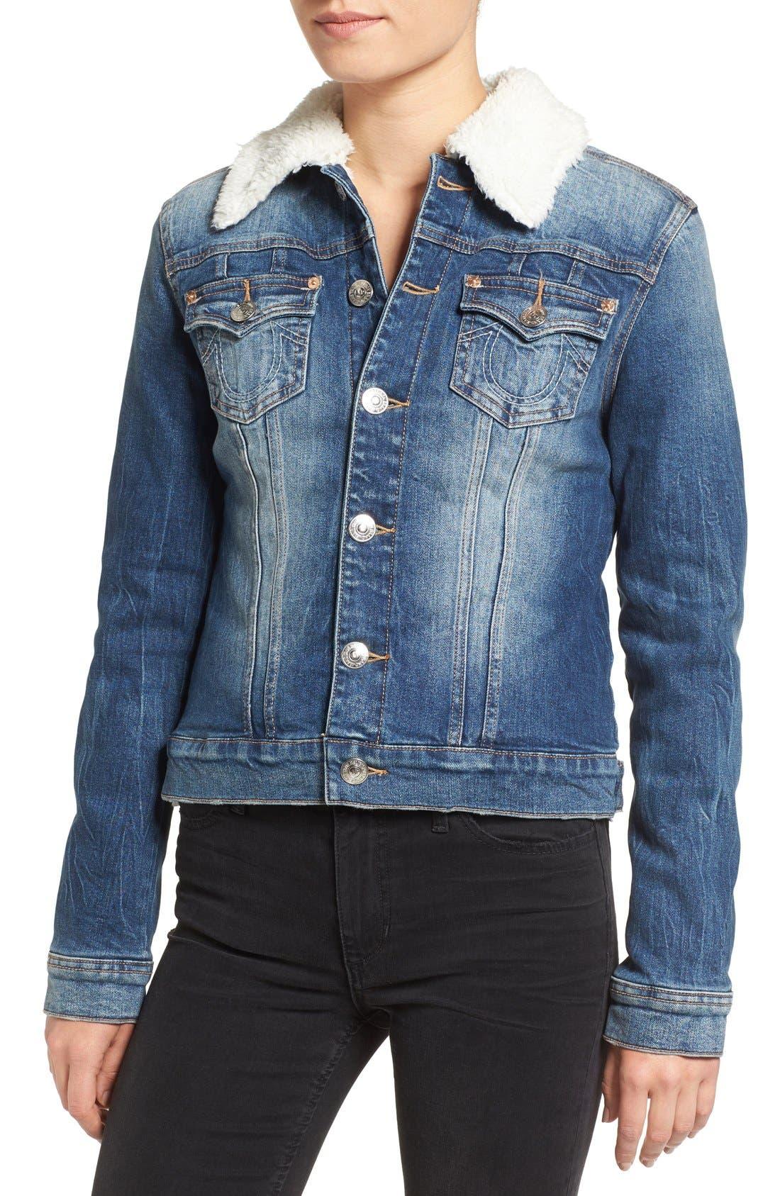 Alternate Image 4  - True Religion Brand Jeans Western Dusty Faux Shearling Collar Denim Jacket
