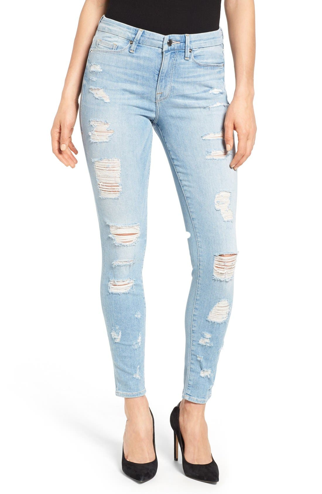 Good American Good Legs High Rise Ripped Skinny Jeans (Blue 008)