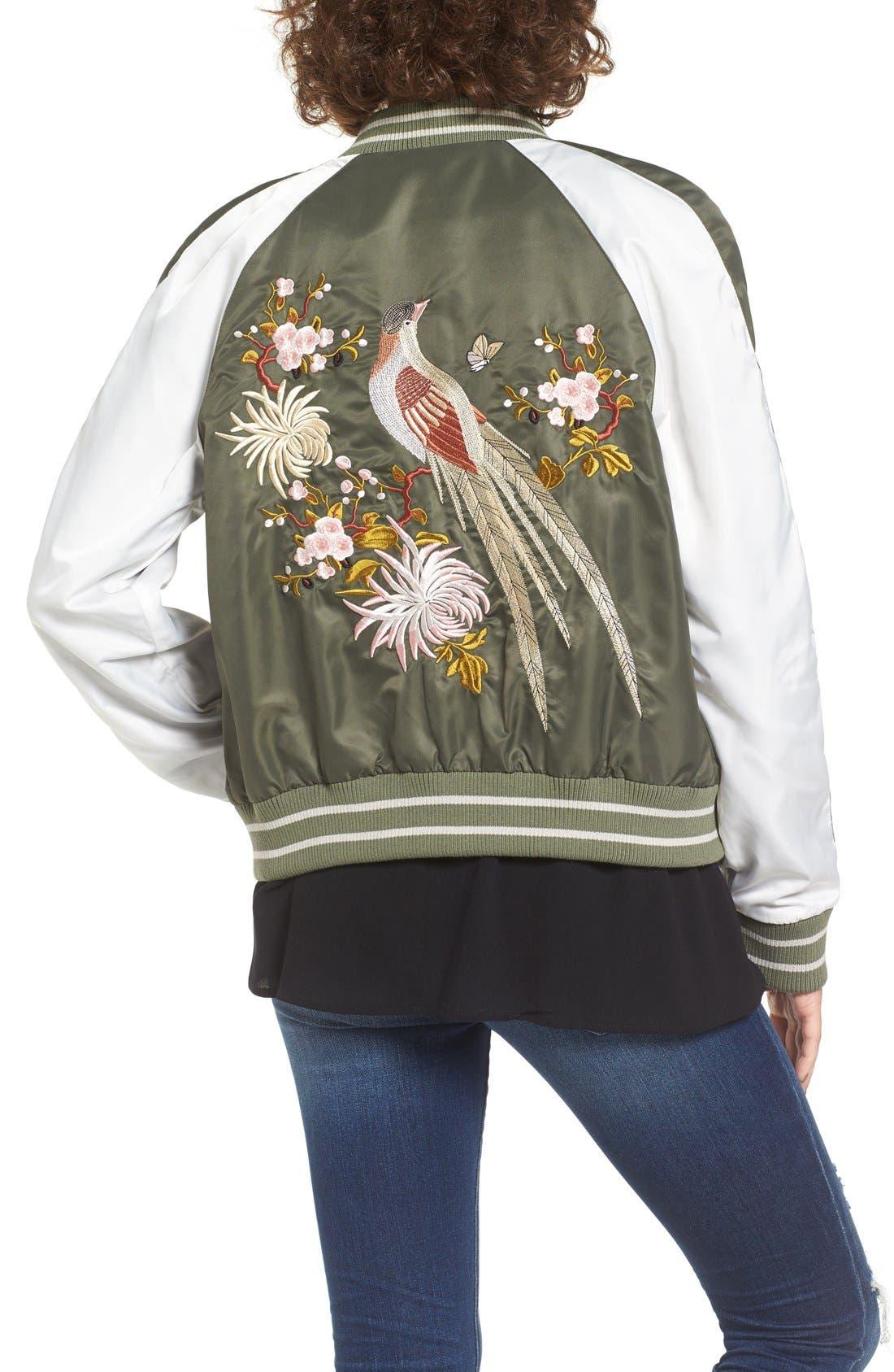 Alternate Image 2  - Glamorous Embroidered Satin Bomber Jacket