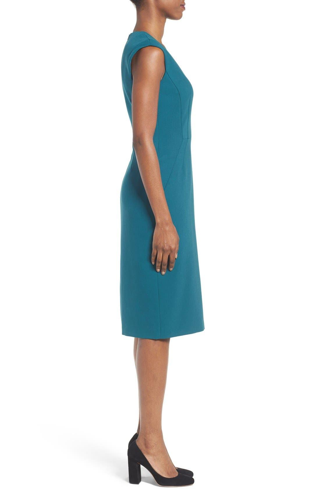 Alternate Image 3  - BOSS Dalana V-Neck Ponte Sheath Dress