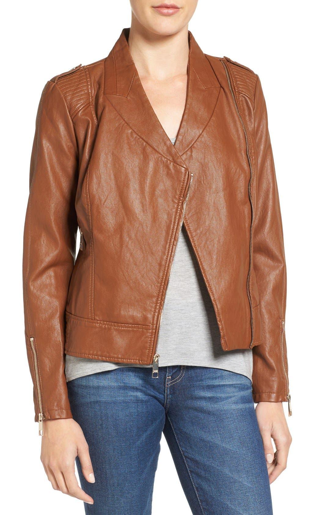 Alternate Image 1 Selected - GUESS Faux Leather Moto Jacket (Regular & Petite)