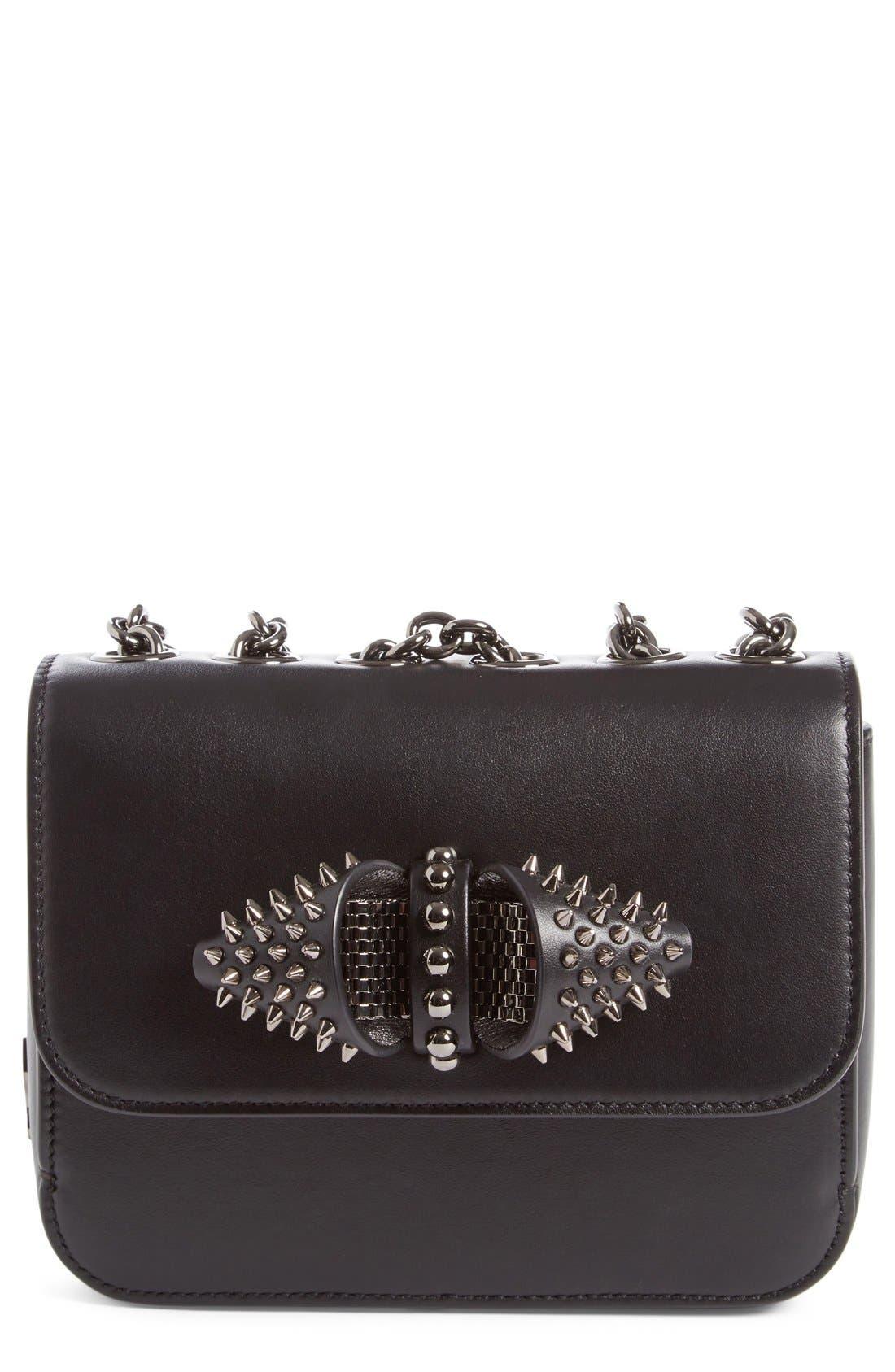 Christian Louboutin 'Small Sweet Charity' Spiked Calfskin Shoulder/Crossbody Bag