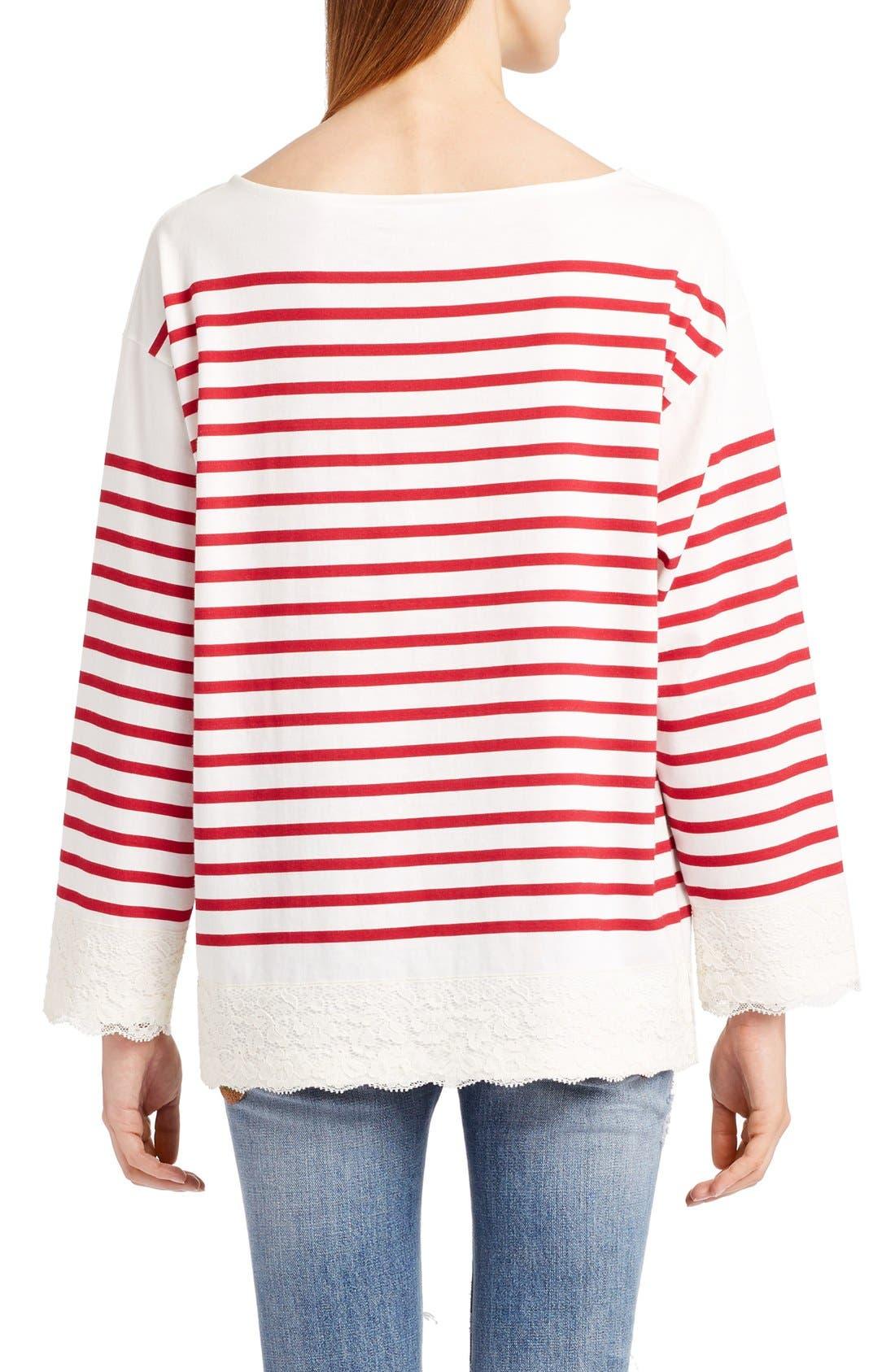 Alternate Image 2  - Dolce&Gabbana Lace Stripe Tee