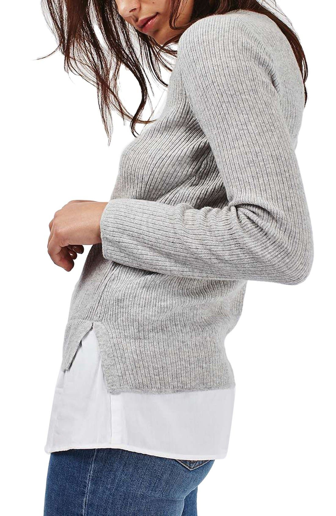 Alternate Image 4  - Topshop Ribbed Layered Sweater