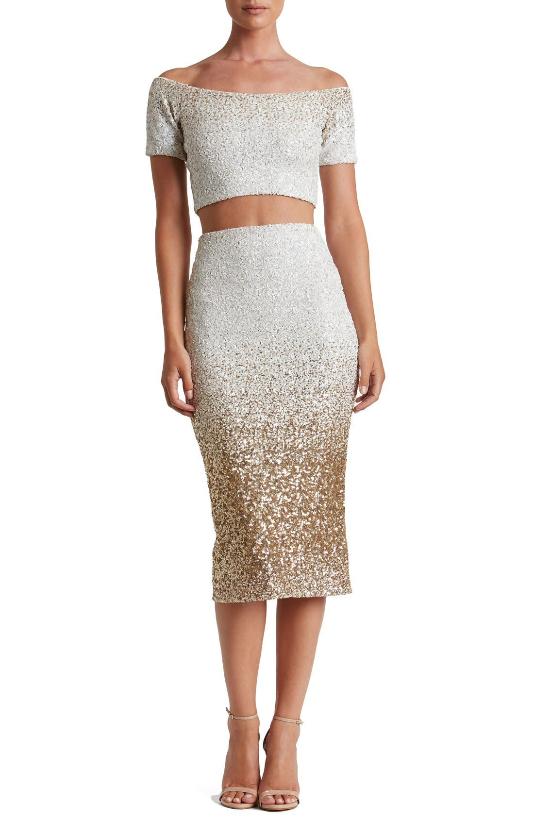 Alternate Image 1 Selected - Dress the Population Emilia Sequin Two-Piece Dress