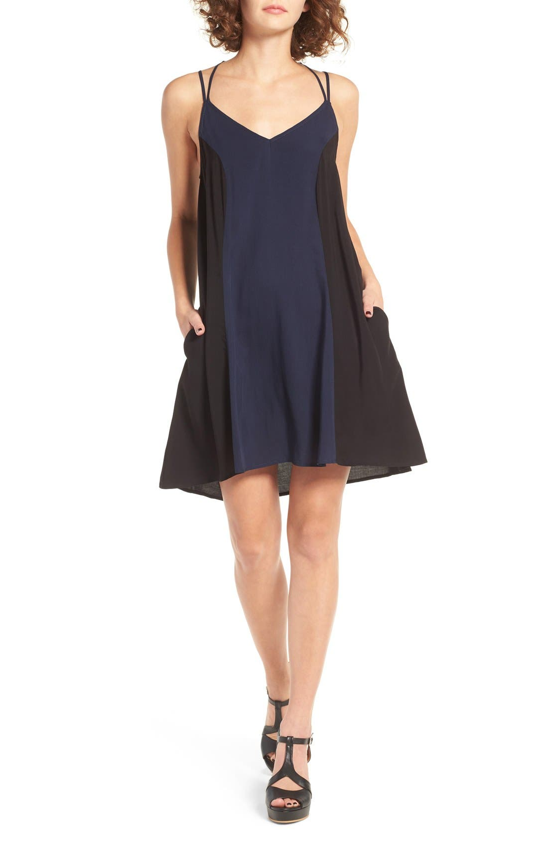 Main Image - Mimi Chica Colorblock Strappy Shift Dress