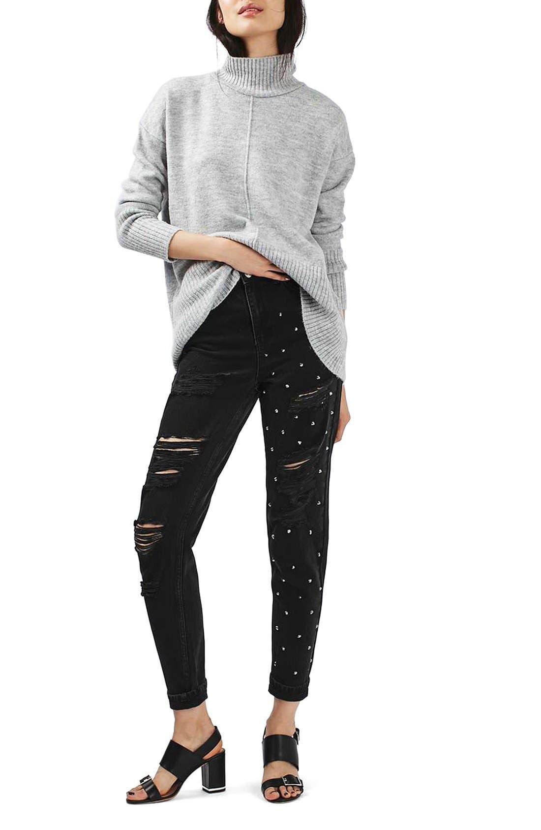 Alternate Image 2  - Topshop Moto Mom Studded Super Ripped Jeans