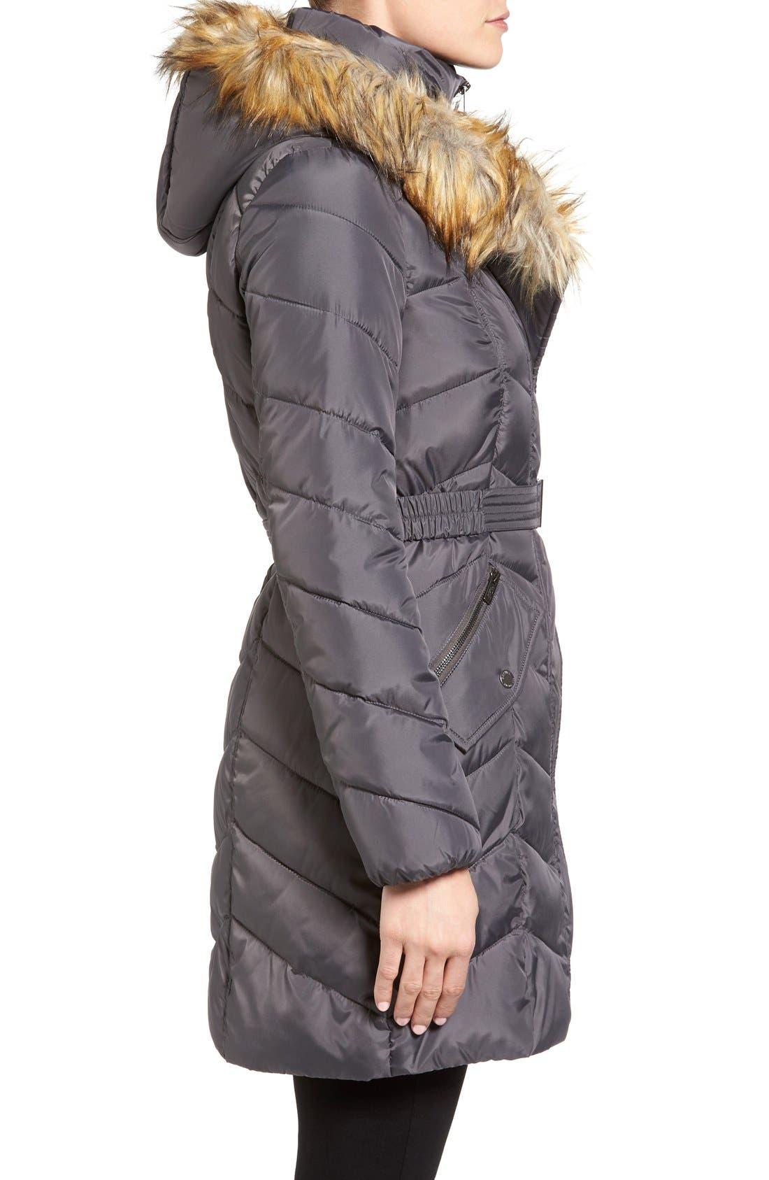 Alternate Image 3  - Rachel Roy Faux Fur Trim Quilted Coat with Bib